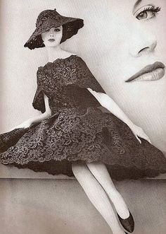Dorothea McGowan in lace dress and hat by Balenciaga, Vogue March 1960