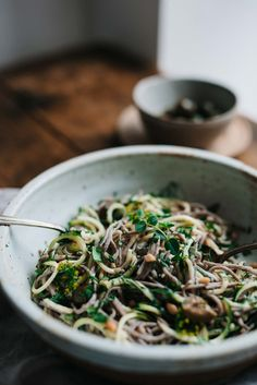 Green Soba Bowl w/ Olive & Sesame Yogurt Sauce