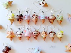Eis Ohrringe – Puppy Animals Kawaii wählen Sie Ihre Lieblings Look at all those cute ice cream by Anryel on etsy! They're so kawaii and sweet, I'd love to see them on a necklace or as earings 💖 - Monde Des Animaux Cute Polymer Clay, Cute Clay, Polymer Clay Charms, Polymer Clay Creations, Polymer Clay Jewelry, Clay Projects, Clay Crafts, Pelo Anime, Cream Earrings