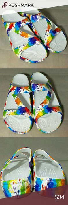 DAWGS *nwot* Sz 10 'Loud Mouth Z' Colorful Sandals Brand: Dawgs  Item:  *Size 10 Rainbow or Paint Splatter Sandal Shoes *Style Name is Loudmouth Z *Primarily White but has Just About Every Other Color Too *Slip On Open Toe & Open Heel *NWOT  Color: White, Purple, Blue, Red, Orange, Green, Yellow  Size: 10  Condition: NWOT Dawgs Shoes Sandals