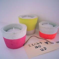 Neon Pop Concrete Candle Holder Set