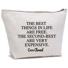 Coco Chanel Quote Makeup Bag Cosmetic Pouch Cosmetic Bag MakeUp Bag... ($22) ❤ liked on Polyvore featuring beauty products, beauty accessories, bags & cases, toiletry bag, chanel makeup bag, makeup purse, cosmetic purse and chanel
