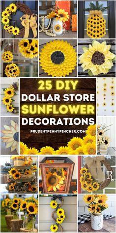 Sunflower Wall Decor, Rustic Sunflower Centerpieces, Sunflower Wreaths, Sunflower Crafts, Sunflower Decorations, Sunflower Bathroom, Sunflower Kitchen, Summer Diy, Summer Crafts