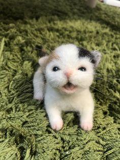 羊毛フェルトの赤ちゃん猫(三毛猫)カゴ入り