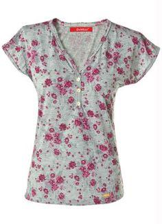 Blusa Estampada com Detalhe de Botões Quintess - Moda Feminina Blusas Manga Curta Moda Feminina - Quintess - Moda Feminina