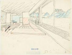 Le Corbusier (Charles-Édouard Jeanneret). Villa Le Lac, Corseaux, 1924-1925. Perspectiva del salón con vistas al lago Lemán. 1924. Lápiz y lápiz de color sobre papel. Fondation Le Corbusier, París. © 2014 FLC-VEGAP.