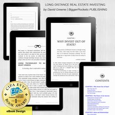 We won first place in the eBook category for the eBook conversion we did for David Greene's book - Long-Distance Real Estate Investing! Go team YELLOWSTUDIOS! Real Estate Investing, Long Distance, Conversation, Web Design, David, Books, Livros, Design Web, Distance