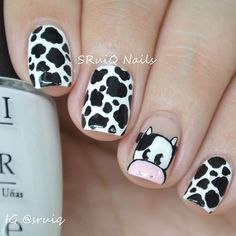 Nail Art Designs In Every Color And Style – Your Beautiful Nails Best Acrylic Nails, Acrylic Nail Designs, Nail Art Designs, Animal Nail Designs, Animal Nail Art, Farm Animal Nails, Nail Art For Kids, Cow Nails, Nagellack Design