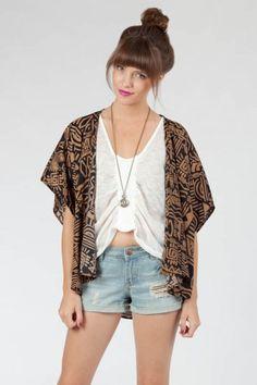 Sosie Aztec Kimono Cardigan $35