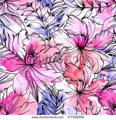 Beautiful seamless floral pattern. Flower vector background. Watercolor painting
