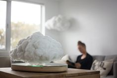 Designer Richard Clarkson has created a small, remote-controlled cloud for the home that plays music and flashes while hovering a few centimetres from the ground. Foley Sound, Mood Light, Indoor, Clouds, Speakers, Product Design, Plays, Remote, Bluetooth