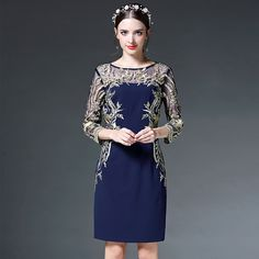 Aliexpress.com : Buy long sleeve women dress 2016 Spring NEW High quality Clothing plus size Slim embroidery Summer dress Dress Party retro dresses from Reliable dress up a black dress suppliers on Vogue Supermarket  | Alibaba Group