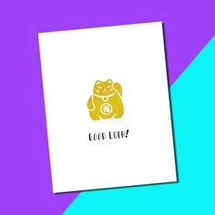 "This Maneki neko or ""Lucky Cat"" card will be sure to bring your recipient luck. Real gold foil adds a bit of charm and extra good fortune. Send these words of support to someone on a first day of a new job, graduation, or any exciting new adventure! Check it out on Etsy: http://etsy.me/2uSi6su"