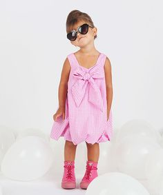 Look at this Pink Gingham Bow Dress - Infant, Toddler & Girls on #zulily today!