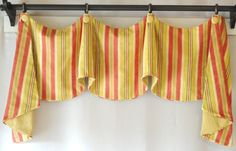 Custom Window Valance Swags Jabots Piping Buttons Stripe Drapery Fabric