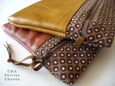 Petite pochette cuir et tissus