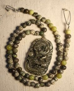 Dragon Pendant Necklace Green Jasper Jade Green by QuietMind