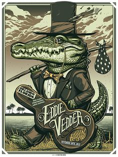Munk One Eddie Vedder Orlando, Tulsa and Memphis poster Rock Posters, Band Posters, Retro Posters, Poster Vintage, Rock And Roll, Ps Wallpaper, Pearl Jam Posters, Fantasy Anime, Plakat Design