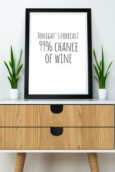 Tonight's forecast 99% chance of wine printable wine quote wall print / funny prints / wine humor print