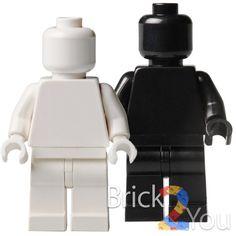 Lego Custom White and Black Plain Minifigure by Brick2you on Etsy