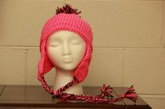 pink and brown mountain hat