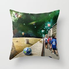 Space Walk by Peter Gross  Throw Pillow made from 100% spun polyester poplin fabric, a stylish statement that will liven up any room. Individually cut and sewn by hand, each pillow features a double-sided print and is finished with a concealed zipper for ease of care.  Sold with or without faux down pillow insert.