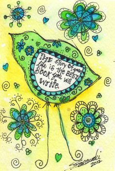 Whimsical Birds   ORIGINAL Whimsical Inspiring Bird by thecharmingplace on Etsy, $25.00