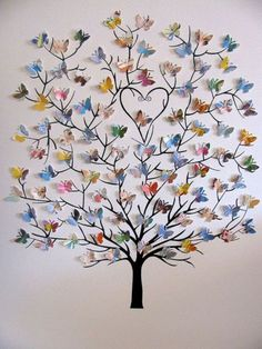 Butterfly-wall-decoration ( colorful magazine pages can be used to make the butterflies)