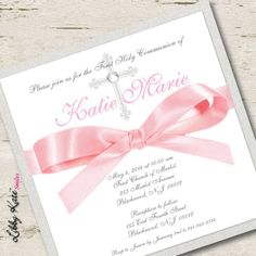 Girl First Communion Invitation Pink and Gold by LibbyKateSmiles, $2.29