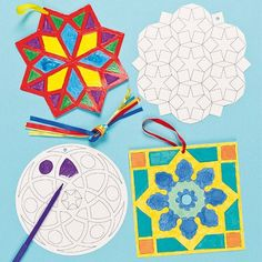 Great templates for mobiles, stained glass windows or colouring in at mosque.