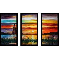 "PicturePerfectInternational ""Florida-Lake Okeechobee"" by Leonid Afremov 3 Piece Framed Painting Print Set Size:"