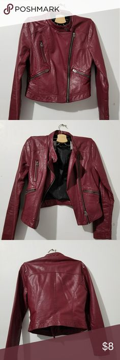 Cropped Faux Leather Jacket In good condition. Comment if you'd like more details Forever 21 Jackets & Coats