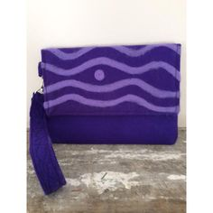 Purple Felted Clutch Handmade Wavy Line Design (€23) ❤ liked on Polyvore featuring twicenicepurses