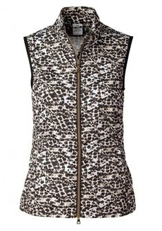 #lorisgolfshoppe Women's Golf Apparel offers a classy collection of golf skorts, shorts, dresses, and golf tops. You gotta see this GOLD EDITION (Black) Daily Sports Ladies Leonie Full Zip Sleeveless Wind Vest with unique , pretty prints and colors!