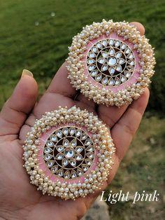 Indian jewelleryethnic JeweleryKundan studsKundan and pearlsparty wear handmade Indian Bridal Jewelry Sets, Indian Jewelry Earrings, Silver Jewellery Indian, Jewelry Design Earrings, Gold Earrings Designs, Ear Jewelry, Jewelery, Indian Jewellery Design, Girls Earrings