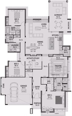 Floor Plan Friday: 3 bedroom for the downsizer or small family 3 Bedroom Home Floor Plans, Modern House Floor Plans, Home Design Floor Plans, New House Plans, Small House Plans, Single Storey House Plans, 2 Storey House, Bedroom Layouts, House Layouts