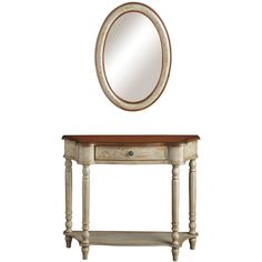 Rustic yet refined, this one-drawer wood console showcases a scalloped silhouette and turned legs. A matching wall mirror echoes the table's distressed fin...