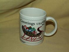 POSTAL SERVICE MUG CHRISTMAS GREETINGS STAMP 25¢ 1989 COFFEE TEA CUP SLEIGH GIFT