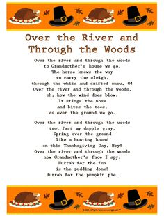 """over the river and through the woods poem   ... Along with this Version of, """"Over the River and Through the Woods"""