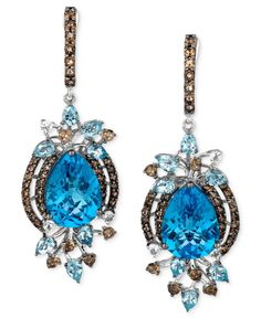 Le Vian Blue Topaz (13-1/2 ct. Smokey Quartz (1-1/3 ct. t.w.) and White Topaz (1/4 ct. t.w.) Earrings in 14k White Gold