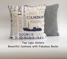 Cornwall Cushion Cornwall Print Cornwall Gift St Ives Lands End Gift Falmouth Print Seaside Cushion Kernow Free Shipping Two Ugly Sisters Cushion Pads, Cushion Covers, Fabric Storage Baskets, Nautical Theme Decor, Calming Colors, Printed Cushions, Falmouth, St Ives, Lands End