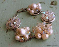 Vintage Pearl Bracelet Upcycled Jewelry Wedding, Bridesmaid, Mothers Day. $35.00, via Etsy.