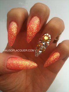 Rhinestones & Orange Stiletto Nails