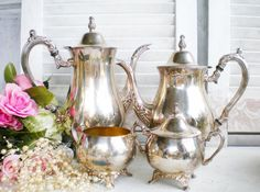 French Silverplate Tea Set/ 5 Piece Silverplate by MyVingtique