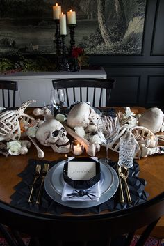 "If there's ever a time to indulge your wildest imagination, it's Halloween. Don't be afraid to fill your table with nightmarish things that go ""bump"" in the night, and decorate in a palette that's gone to the dark side."