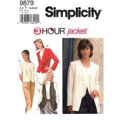 Lined Jacket and Vest Pattern Simplicity 9879 Button Front Womens Plus Size 18 20 22 UNCUT - product images  of