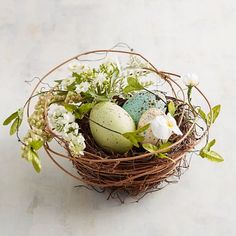 From our nest to yours: A little color for spring. Add our handcrafted, hand-painted little piece to a centerpiece, spring display, mantel or bookshelf.