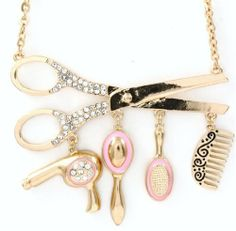 Amazon.com: Hair Stylist Necklace Crystal Scissor BX Pink Dryer Mirror Comb Brush Gold Tone: Jewelry