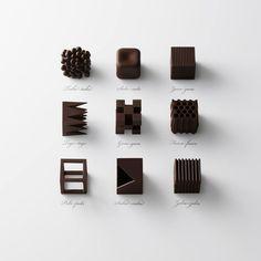 Food design Chocolate - Chocolates That Represent Japanese Onomatopoeic Words To Describe Texture Chocolate Texture, Chocolate Shapes, Types Of Chocolate, Chocolate Art, Japanese Chocolate, Chocolate Boxes, Chocolate Bouquet, Chocolate Cream, Food Design