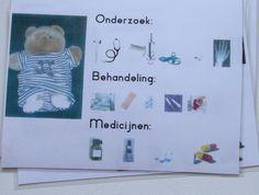 Patiëntkaarten die je aan de bedjes in het ziekenhuis kunt hangen. De dokter kruis aan wat er moet geburen en naar welke afdeling de patiënt moet voor behandeling.